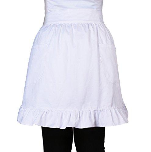 Love Potato - Delantal para mujer, 100% algodón, 2 bolsillos, para cocina, restaurante, bistró, mitad delantales para niñas y mujeres, color blanco
