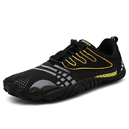 FOGOIN Barfußschuhe Herren Damen Outdoor Fitnessschuhe Laufschuhe Minimalistische Sneaker im Sommer Gr.37-47, Schwarz, 40 EU