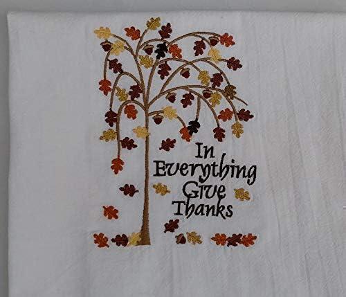 Fall tea towel flour sack towel Thanksgiving dish towel kitchen autumn decor product image
