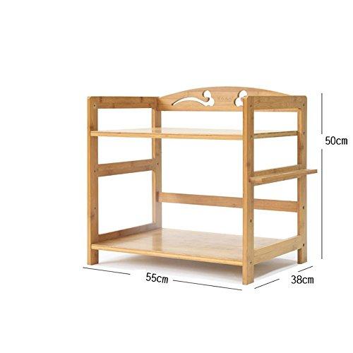 ILQ Tablette/Grille Micro-Ondes/Plancher de Cuisine en Bambou/étagère en Bois Massif/étagère de Rangement/étagère Simple/étagère de Trois étages,50 * 38 * 55 cm