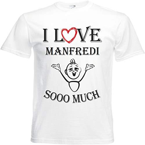 Camiseta I Love Manfredi para mujer, hombre y niños en color blanco. Blanco XXXL