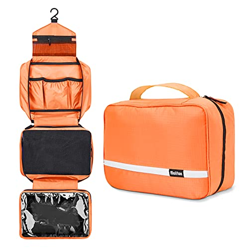 Travel Toiletry Bag for Women, Maliton Hanging Toiletry Bag with 4 Compartments, Portable and Waterproof Compact travel Bathroom Organizer,Ideal for Travel or Daily Life (ORANGE)