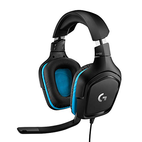 Logitech G432 Auriculares Gaming con Cable, Sonido Surround, DTS Headphone X 2.0, Transductores 50mm, USB y Jack Audio 3, 5mm, Micrófono Volteable, Peso Ligero, PC, Mac, Xbox One, PS4, Nintendo Switch