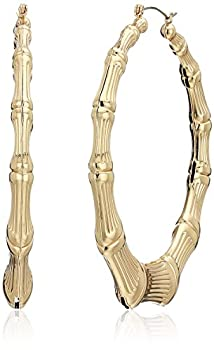 Guess Metal Hoops Women s Bamboo Hoop Earrings Gold One Size