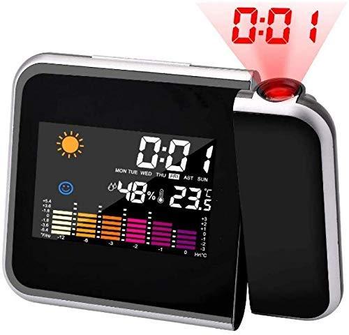 ZJZ wekker, digitale led-wekker met groot LCD-display, digitale sluimerfunctie, led-projectiewekker voor slaapkamerkantoor
