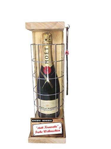statt Krawatte Frohe Weihnachten - Die Eiserne Reserve mit einer Flasche Champagner Moët & Chandon Brut Impérial 0,75L incl. Bügelsäge - Das Weihnachtsgeschenk
