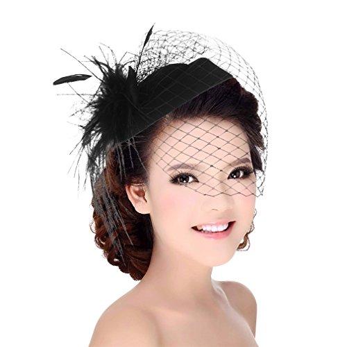 DEMU Damen Elegante Feder Fascinator Haarklammer Hochzeit Cocktail Netzschleier Mini-Hut Schwarz