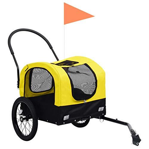 Tidyard 2-in-1 Tier-Fahrradanhänger und Jogger Faltbar Hundeanhänger Hunde Fahrrad Tier Anhänger Gelb und Schwarz Oxford-Gewebe 63,5 x 143 x 103 cm