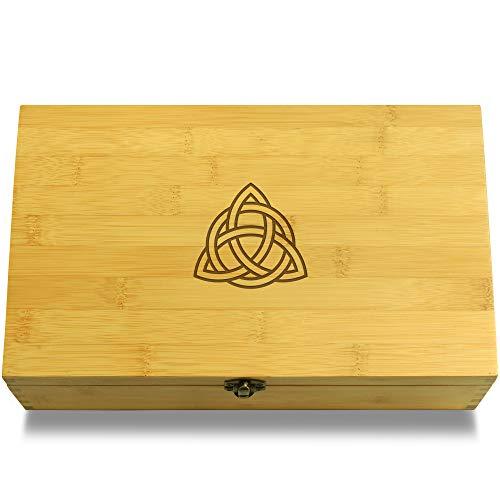 Cookbook People Celtic Knot Symbol Multikeep Box - Memento Bamboo Wood Adjustable Organizer