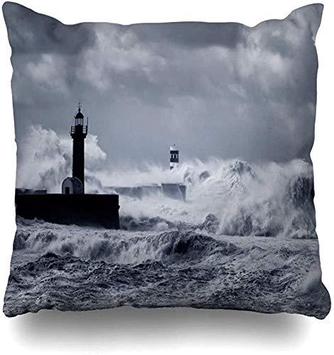 Throw Pillow Cover Nature Blue Sea Douro River Mouth Under Heavy Storm Sombra Negra Baliza Blanca del Atlántico Gran diseño Funda de Almohada para el hogar Funda de Almohada Decorativa 20×20pulgada