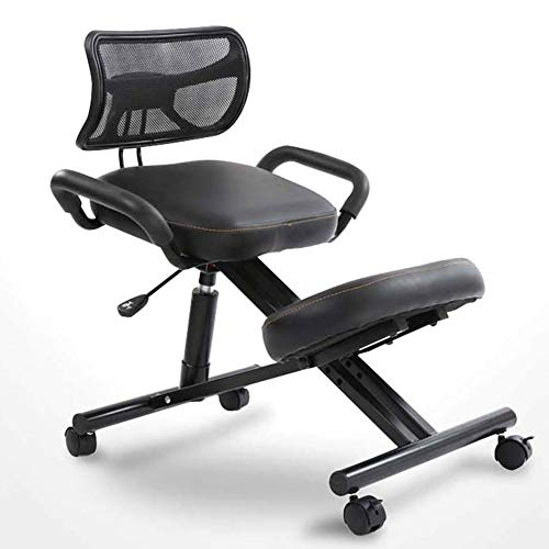 APOE Kneeling Chair with Back Support, Ergonomic Posture Correction Office Stool with Comfortable Adjustable Seat Cushion and Fixed Rollers, Relieve Pressure, Leather