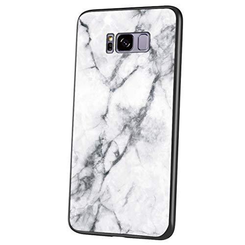 Herbests Kompatibel mit Samsung Galaxy S8 Plus Hülle Gehärtetes Glas Rückseite + Silikon Bumper Handyhülle Marmor Muster Kratzfeste Hardcase Schutzhülle Stoßfest Hybrid Hülle,Weiß