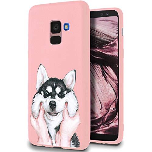 ZhuoFan Funda Samsung Galaxy A8 2018, Cárcasa Silicona Rosa con Dibujos Diseño Suave Gel TPU Antigolpes de Protector Piel Case Cover Bumper Fundas para Movil Samsung GalaxyA8, Perro 01