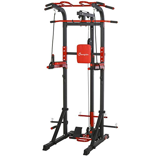 Soozier Pull Up Bar Station Power Tower for Home Gym Traning Workout Equipment Arms, Legs, Waist, Buttocks, Abdomen Exercise