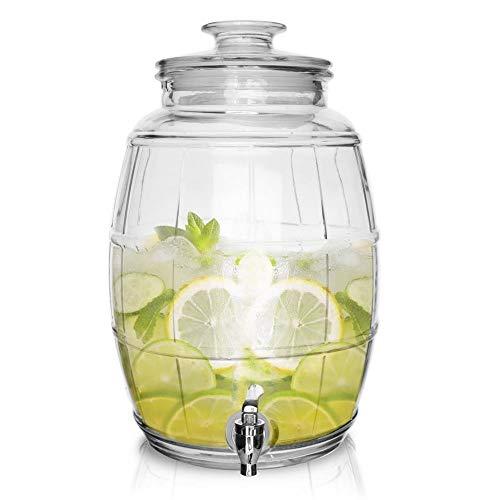 ORION GROUP Getränkespender Glas Limonadenspender Zapfhahnflasche mit Zapfhahn Gläser Trinkgläser Cocktail Drinking Retro 10 L