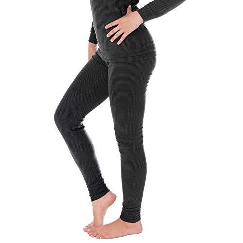 Black Snake Damen Thermounterwäsche | lange Unterhose | Thermounterhose mit Ringelmuster - Anthrazit - 36/38