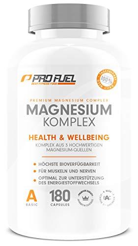 ProFuel Magnesium Komplex Kapseln, hochdosiert | mit 375 mg ELEMENTAREM Magnesium | Made in Germany, 100{6c050a7b0f88c7881de5b9c4474ae261806cee5d3f8aa557bab3c2f4d025b145} Vegan | Magnesium-Bisglycinat, Magnesium-Malat & Magnesium-Citrat | 180 Kapseln (60 Tage)