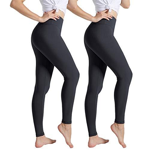 Polainas de las mujeres Negro de cintura alta empuja hacia arriba polainas for las mujeres aptitud de la gimnasia del entrenamiento deportivo Leggins Casual ( Color : Dark Grey 2Pcs , Size : Small )