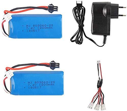 Batteria Lipo 7.4V 1200mAh 2S 30C con Caricatore USB per H26 H26C H26W H26D H26HW RC Quadcopter Drone Batteria 7.4V per Giocattoli H26-2b EU C
