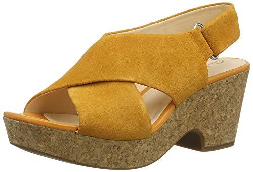 Clarks Maritsa Lara, Sandalias de Talón Abierto para Mujer, Amarillo (Amber Suede Amber Suede), 37.5 EU