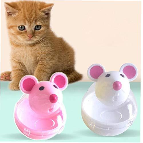 Formación 2pcs Tumbler Gato Juguete Divertido Animal doméstico del Gato Herramienta de mascar Alimentación Reproducción Fuga de Bola del alimento con burlas Mascotas de Juguete Varita