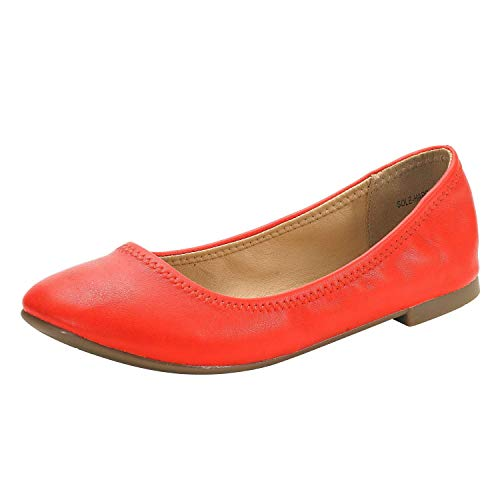 DREAM PAIRS Women's Sole-Happy Coral Ballerina Walking Flats Shoes - 11 M US