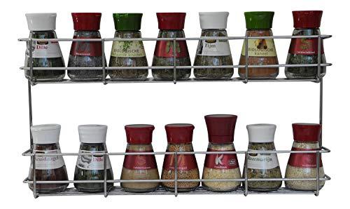 Scaffale porta spezie/portaspezie a 2 piani, 21 x 40.5 x 6cm - Ripiano per le spezie in design quadrato / 2 ripiani / mensola per le erbe (facile da installare)