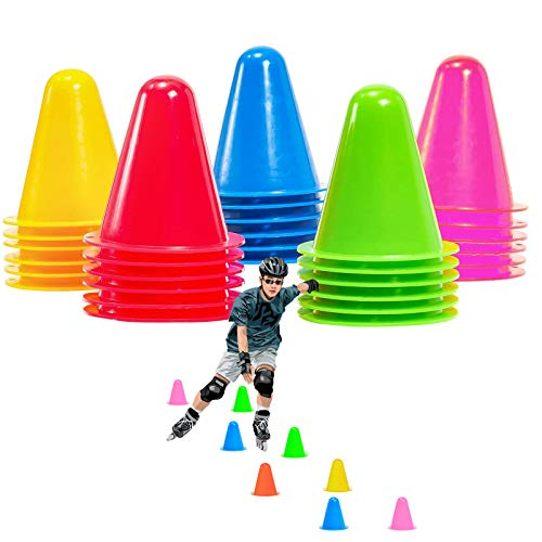 xianzhanEU 30 Stück 7,5 cm Markierungskegel Pylonen, Hindernis Kegel für Kinder, Fußball, Sport, Reitsport, Hund Training(Gelb/Rot/Grün/Blau/Pink)