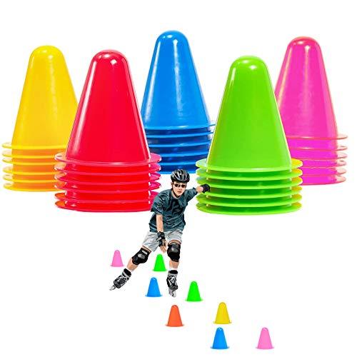 Nother xianzhanEU 30 Stück 7.5 cm Markierungskegel Pylonen,Hindernis Kegel für Kinder,Fußball,Sport,Reitsport,Hund Training(Gelb/Rot/Grün/Blau/Pink)