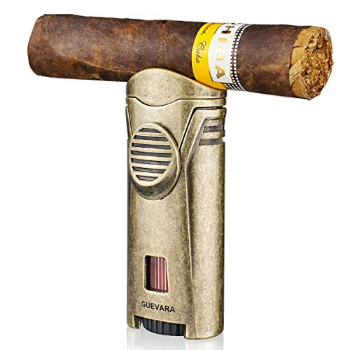 Cigar Lighter Torch with Cigar Stand Windproof Single Flame Butane Refillable High Quality Scorch Lighters (Without Gas)(Gold)