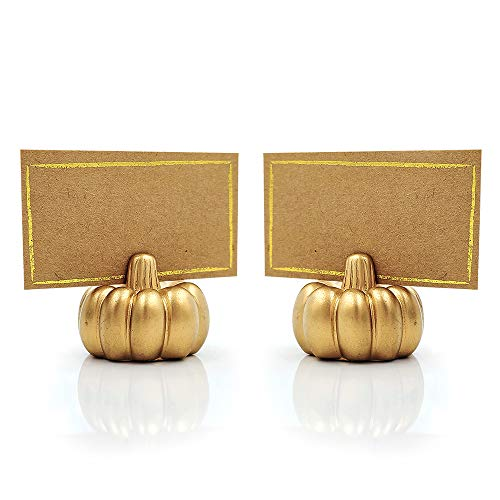 Kate Aspen Pumpkin Place Card Holder, Set of 6, Gold
