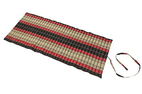 Handelsturm Rollbare Thaimatte Matratze, ca. 200 x 80 cm, Thaikissen Matte mit Füllung aus Kapok (200x80 cm, Schwarz-rot)