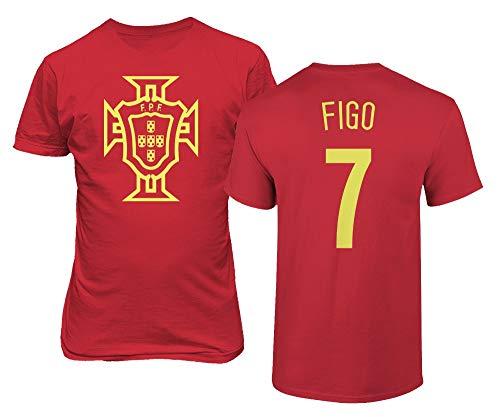 BTA Apparel Neu Neuheit Fußballlegenden #7 Luis FIGO Trikotstil Herren T-Shirt (Rot, 2XL)