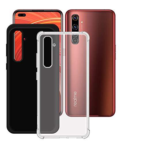 YZKJ Hülle für Realme X50 Pro 5G Cover,[2 Stück] Weiche Handytasche Trasparent + Schwarz TPU Handyhülle Silikon Tasche Schale Hülle Schutzhülle für Realme X50 Pro 5G (6.44
