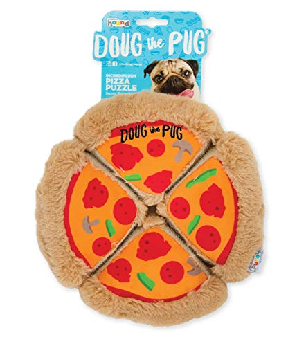 Outward Hound Doug The Pug Incrediplush Pizza Puzzle Squeaky Plush Dog Toy, Multicolor, Model:68244,Large