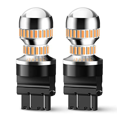 AUXITO LED Turn Signal Light Bulbs 3157 LED Bulbs Amber Yellow 3156 3056 4057 4157 Blinker Parking Side Marker Lights, Pack of 2