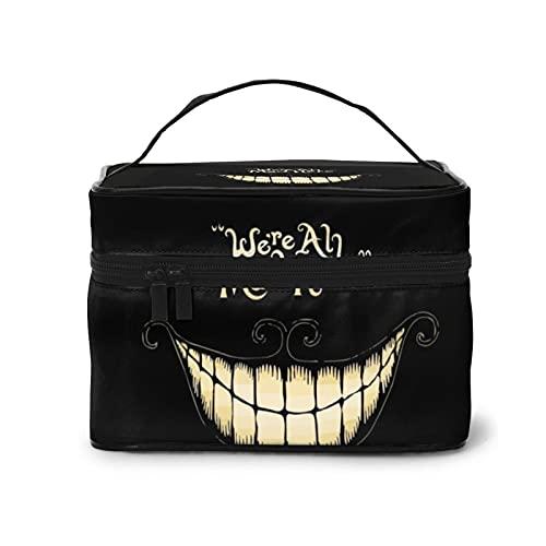 Alice in Wonderland were Ah Mad Here Smiley Fface - Bolsa de cosméticos para mujer con cremallera multifunción (9 x 6.7 x 6.2 pulgadas)