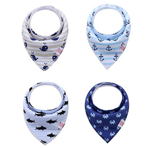 LvRaoo Baby Dreieckstuch Lätzchen 4er Saugfähig Weich Spucktuch Lätzchen Halstücher mit Druckknöpfen für Kleinkinder Jungen Mädchen - Style 38, Eine Größe