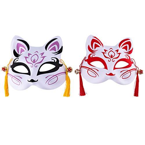 PRETYZOOM Máscara de zorro japonesa estilo anime zorro, máscara de cosplay, máscara de media cara para fiestas, disfraces, Halloween, 2 unidades