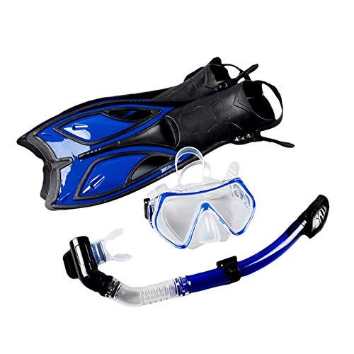LOVOICE Máscara de buceo de silicona para adultos, unisex, set de buceo, juego de esnórquel, gafas de buceo, gafas de buceo totalmente secas, tubo largo, aletas, snorkel