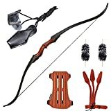 Huntingdoor 59 inch Archery Recurve Bow Takedown Bow Hunting Bow Traditional Longbow Wooden Bow with Protective Gear and Stringer Tool for Adults for Right Hand 30-50 lbs