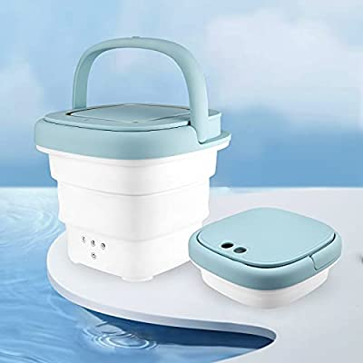 TOPQSC Foldable Washing Machine Portable Blu-ray Dryer 2 in 1 Mini Underwear Washing Machine with Handle Ultrasonic Cleaning Machine Suitable for travel, Home Use for Baby Clothes, Ladies Underwear