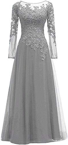 HUINI Abendkleider Spitze Ballkleider Lang A-Linie Brautjungfernkleider Brautkleid Vintage Festkleid Langarm Silber-grau 48