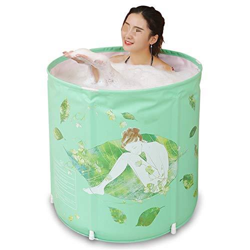Dickerer Eimer Tragbare Badewanne Mini Faltbare Dusche Waschbecken Erwachsener Freistehende Badewanne freischaltbar Drainage für Badezimmer (Farbe : Grün, Size : 70X65CM)