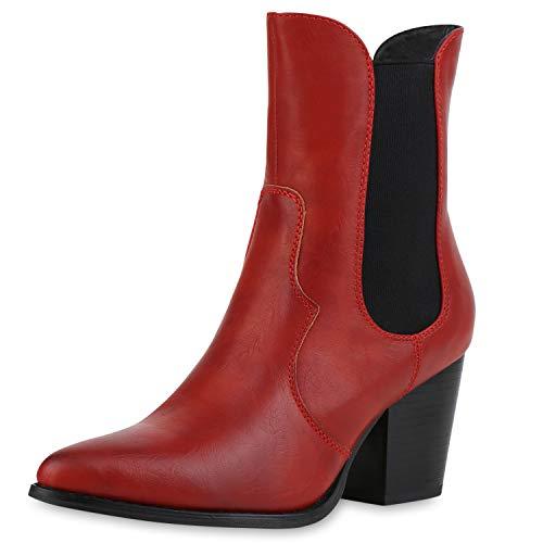 SCARPE VITA Damen Stiefeletten Cowboy Boots Leicht Gefütterte Western Stiefel Leder-Optik Schuhe Cowboystiefel Mid Heel Westernstiefel 185800 Rot 37