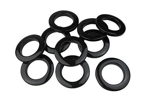 Stoffösen für Stoffloch Ø 40 mm, verwendbar für alle Stoffstärken, 10 Stück, Kunststoff, schwarz