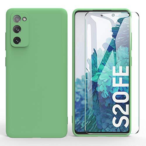 ARRYNN Samsung Galaxy S20 FE 5G hülle + Panzerglas Schutzfolie,Handyhülle Liquid Silikon TPU Schutzhülle für Samsung Galaxy S20 FE 5G -Grün