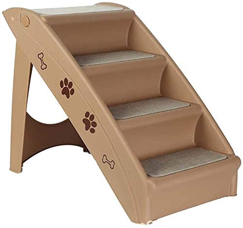 YAOSHUYANG Pet bed Pet Stairs,24.0214.9618.70in Thick ABS Pet Ladder with Plush Cushion 18.70in high durable portable Nonslip 4-Step Folding Pet Steps,for Indoor Dogs and Cats (Gray/Coffee)