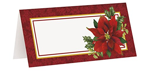Holly Poinsettia Holiday Place Cards, 16ct
