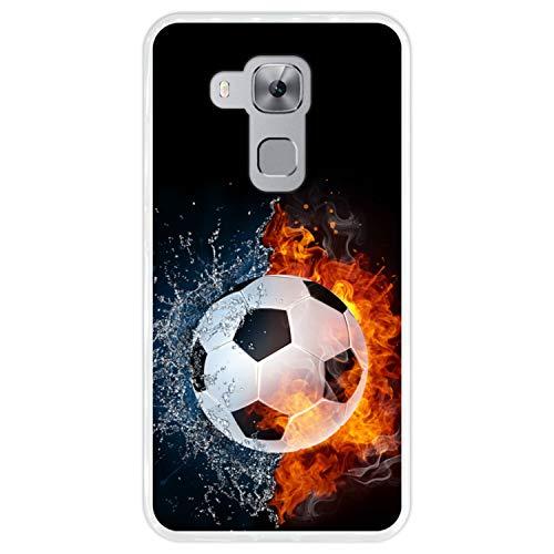 Funda Transparente para [ Huawei Nova Plus - Huawei G9 Plus ] diseño [ Fuego y Agua, balón de Futbol ] Carcasa Silicona Flexible TPU